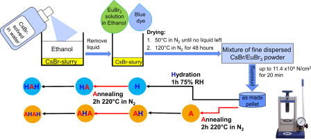 Influence of hydration and annealing on structure, PSL yield