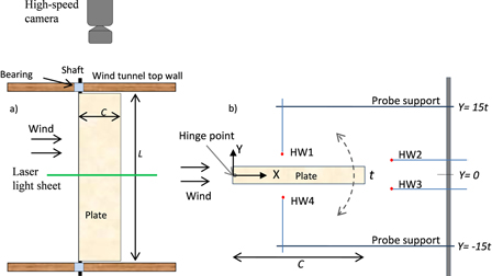 Flow-induced oscillation of a rigid rectangular plate hinged at its