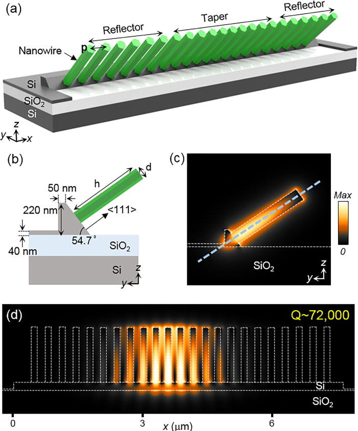 III–V nanowire array telecom lasers on (001) silicon-on