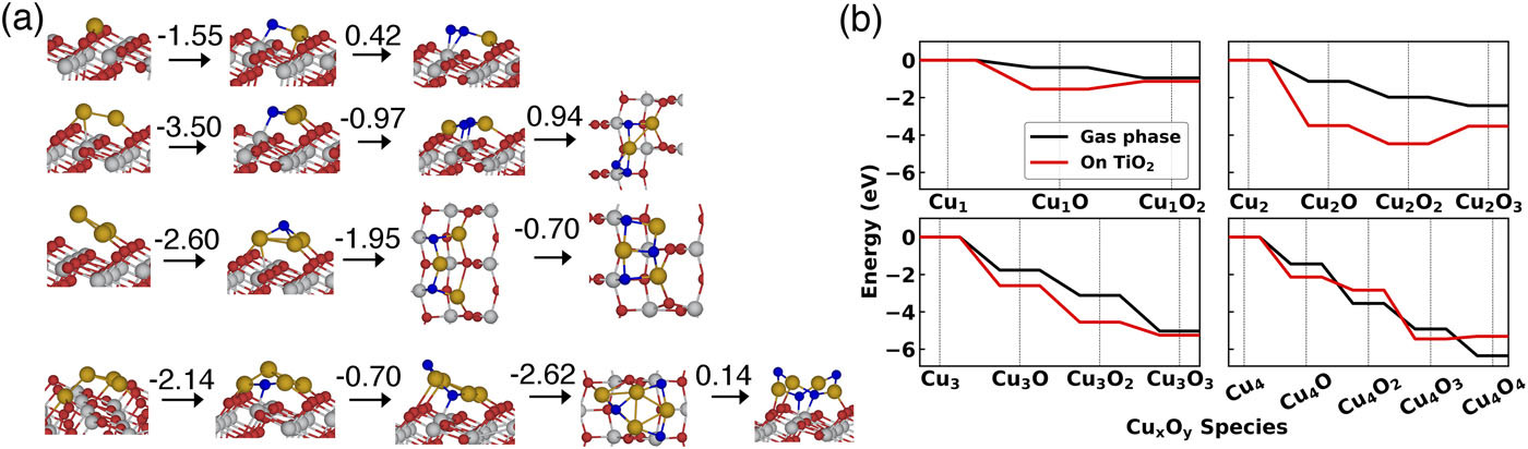 The stability and oxidation of supported atomic-size Cu